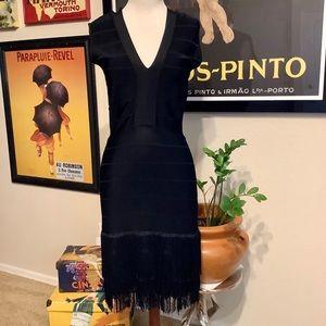Venus V-Neckline Fringe Bottom Bandage Dress